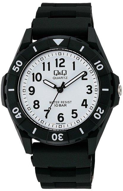 【メール便 送料無料】シチズン Q&Q 腕時計 スポーツウォッチ アナログ表示 10気圧防水 ブラック×ホワイト VR58-002 メンズ