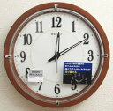 送料無料 セイコー 木製枠 電波時計 掛け時計(茶)自動全面点灯 LEDで光る針 アナログ 連続秒針 ファインライトNEO KX395B【あす楽対応】