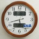 セイコー 電波掛け時計 カレンダー、温度、湿度表示付 KX369B 木枠【あす楽対応】