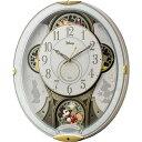 リズム時計 ディズニー からくり時計 電波掛け時計 メロディ28曲 4MN509MC03 コンパクト 薄型 送料無料