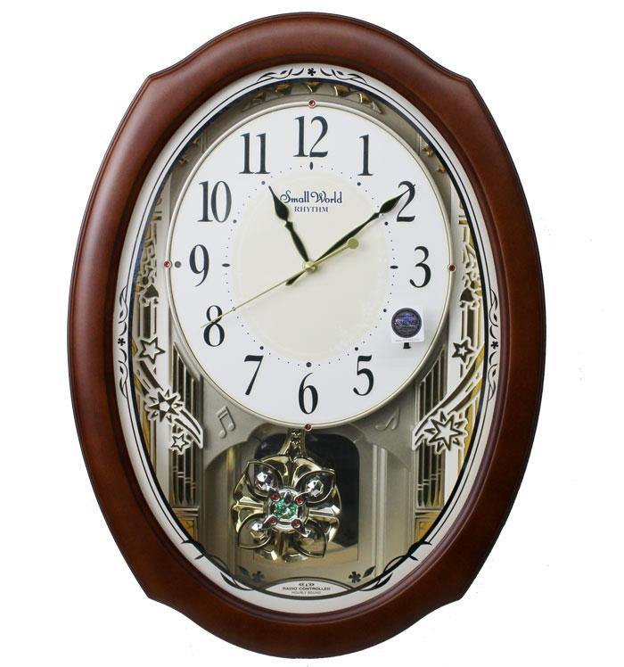送料無料 RHYTHM(リズム時計) 木枠 30曲入りアミューズ電波時計 スモールワールドセレブレ 茶色 4MN541RH06