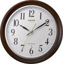 リズム時計 電波掛け時計 フィットウェーブアヤ ウォールナット材 木枠 連続秒針 茶 日本製 8MY512SR06 送料無料RHYTHM 電波時計 掛け時計