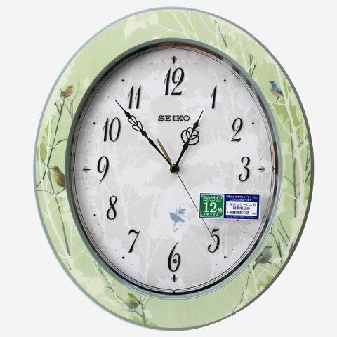 セイコー 電波掛け時計 Natural Style(ナチュラルスタイル)木枠 スイープセコンド 報時 緑 RX214M【あす楽対応】【動画あり】送料無料 連続秒針