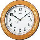 セイコー電波掛時計 ラ・クロック KX402B  2in1(ツーインワン)ムーブメント搭載 薄茶花柄模様光沢仕上げ【あす楽対応】【コンビニ受取対応商品】