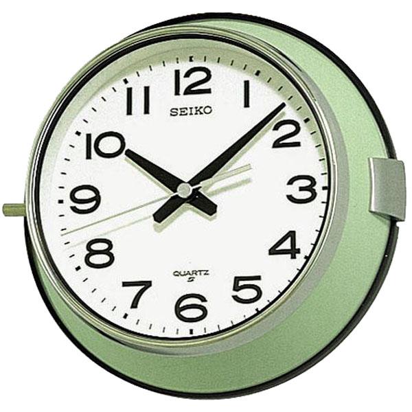 送料無料 セイコー 防塵タイプクオーツ掛時計 レトロなバス時計 船舶時計 KS474M 薄緑【あす楽対応】