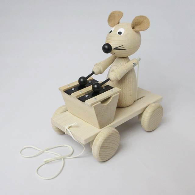 鉄琴ねずみさんプルトーイ引っ張るおもちゃチェコ製木のおもちゃ