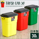 ★日本製ふた付きゴミ箱★Trash Can(トラッシュカン) 30L 5色対応 ごみ箱 ダストボックス ゴミ ごみ 分別 屋外 おしゃれ キッチン 庭 ベランダ リビング 30リットル グリーン イエロー レッド