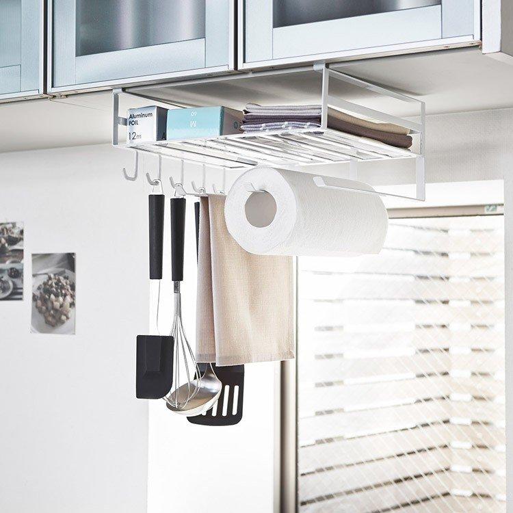 戸棚下多機能ラックTOWERタワー戸棚下収納収納ラック収納ラップホルダー布巾掛けタオル掛けお玉掛ける