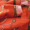 【レディース】【スカーフ】【メール便送料無料】スカーフ  シンプル リボン&アート柄 レッドピンク