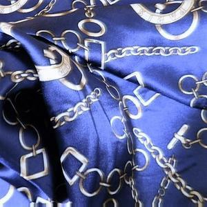 【レディース】【スカーフ】【メール便送料無料】スカーフ ブルー チェーン柄 訳あり商品 大特価