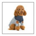 【特別ご奉仕品】おしゃれなボーダーTシャツトップス★ヒジあて付きが可愛い♪S・M・L・XL 小型犬・中型犬 ペットウェア 犬服 伸縮性あり 春夏秋向け アウトレット価格
