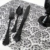 プレースマット(ダマスク/ブラック)【monotone モノトーン 白黒 デザイン ランチョンマット シンプル A3 ストライプ テーブルクロス】