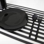 プレースマット(ボーダー/ブラック)【monotone モノトーン 白黒 デザイン ランチョンマット シンプル A3 ストライプ テーブルクロス】