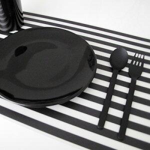 プレースマット ボーダー ブラック モノトーン デザイン ランチョン シンプル ストライプ テーブルクロス