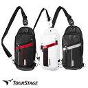 ゴルフ有名ブランド ツアーステージ メンズ用ボディバック(ワンショルダー、ショルダーバッグ)スポーティーでシンプルなデザイン。大変丈夫なレザー調の高級感ある合皮製【add-option】