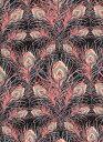 LIBERTY国産リバティカットクロスJuno Feather(ジュノー・フェザー)エターナル柄黒地コーラル&グリーン2349011-YE