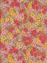 LIBERTYリバティプリントGloria Flowers(グロリアフラワーズ)国産エターナル柄サーモンピンク&イエロー