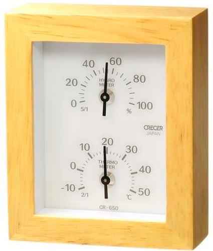 クレセル天然木温度計・湿度計CR-650W