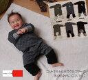 『A4475』【メール便不可】ニットキルト×ミラクルファー袖が伸縮性◎で着せ易いロンパース 日本製(70cm 80cm)1590
