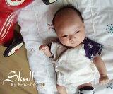 50厘米,60厘米Toppusushirizu在最近的四色内衣Bokusastu『3130』第一次[日本製で安心♪50cm-60cm初めて着る新生児の為の4色ドクロ短肌着『3130』【HLSDU】『日本製』]