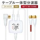 分波器 テレビ アンテナケーブル 4K 8K BS CS 地デジ 入力 ケーブル付き 一体型 1.5m 0.3m 4K ノイズに強い プラチナアンテナ ケーブル