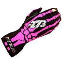 -273 Skeletal Karting Glove Hot pink マイナス273 スケルタル レーシングカートグローブ ピンク
