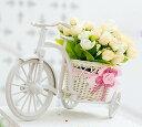 置物 ミニバラを乗せた小さな白い自転車 (シャンパン系, 春色系列)