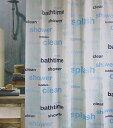 シャワーカーテン ブルーのバスタイム bathtime ロゴ
