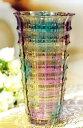 フラワーベース 花瓶 レトロ風 レインボーカラー ガラス製 (B)