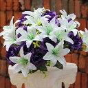 造花 ユリ バラ ブーケ 直径40cm (ホワイト×パープル)