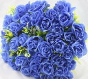 造花 バラ 花束 ブーケ 36個の花 (ブルー)