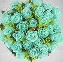 造花 バラ 花束 ブーケ 36個の花 (ミントブルー)