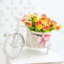 置物 ミニバラを乗せた小さな白い自転車 (オレンジ系, 春色系列)
