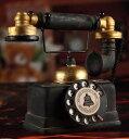置物 アンティーク風 レトロ電話機型 ブラック 黒