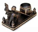 キャンドルスタンド 置物 樽を引く象 アジアン 木製
