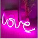 ネオンサイン LED love 英文字 電池&USB両用タイプ (ピンク)...