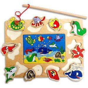 さかなつりゲーム 木製 パズル&魚釣り