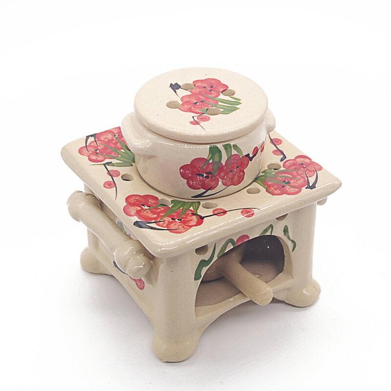 アロマポット 陶器 シノワズリ柄 梅の花 インテリア