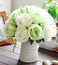 造花 バラ 2色 白いフラワーポット入り (ホワイト×ライトグリーン)