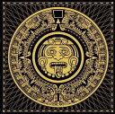 デザインマット 正方形 マヤ文明 アステカ文明 ブラックxイエロー