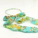ショッピング和風 カチューシャ パール&ダイヤ風装飾 リボン付き 和モダン柄 (ライトブルー)