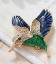 ブローチ 羽ばたく青い鳥 小鳥 ブルー×グリーン 【送料無料】