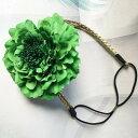 カチューム 大きな牡丹の花付き 華やか ボヘミアン風 (グリーン)