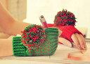 ハンドウォーマー 毛糸 ボンボン付き クリスマスカラー (レッド×グリーン)
