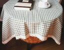 テーブルクロス レース付き ギンガムチェック グリーン (長方形C 140×200cm)