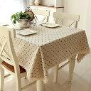 テーブルクロス レース付き 小花 デザイン ブルー (長方形C 140×200cm)