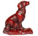 置物 工芸品のような紅木色 中国的 干支風 (犬)