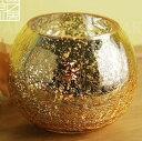 キャンドルホルダー クリスマスカラー モザイクガラス (ゴールド)