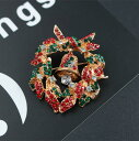 ショッピングクリスマスリース ブローチ クリスマスリース&ベル クリスマスカラー キラキラ 【送料無料】