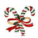 ショッピングマスカラ ブローチ 2本のステッキと赤いリボン クリスマスカラー 【送料無料】
